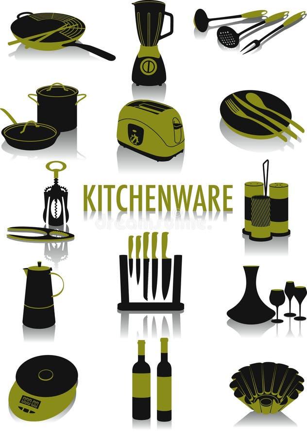 厨具剪影 库存例证