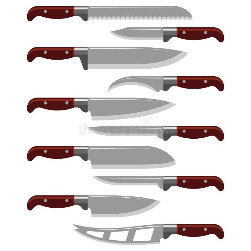 厨刀武器钢锋利的匕首金属军事危险金属剑传染媒介例证 向量例证