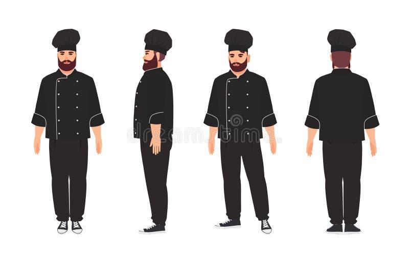 厨师、合格的厨师,佩带黑制服和无边女帽的专业餐馆或厨房工作者 男性漫画人物 向量例证