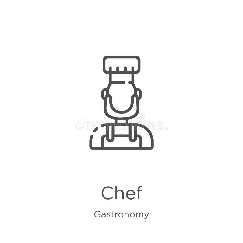 厨师从美食术汇集的象传染媒介 稀薄的线厨师概述象传染媒介例证 概述,稀薄的线厨师象为 向量例证