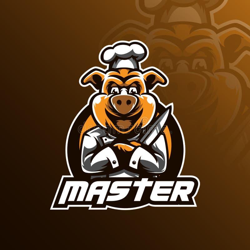 厨师传染媒介商标与现代例证概念样式的设计吉祥人徽章、象征和T恤杉打印的 肉猪厨师例证 向量例证