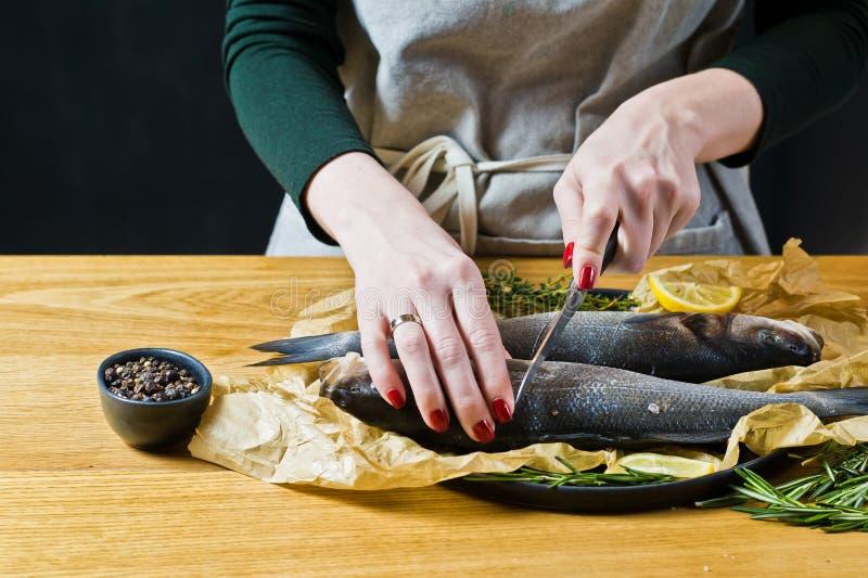 厨师准备在一张木桌上的鲈鱼 黑背景,侧视图,文本的空间 免版税库存图片