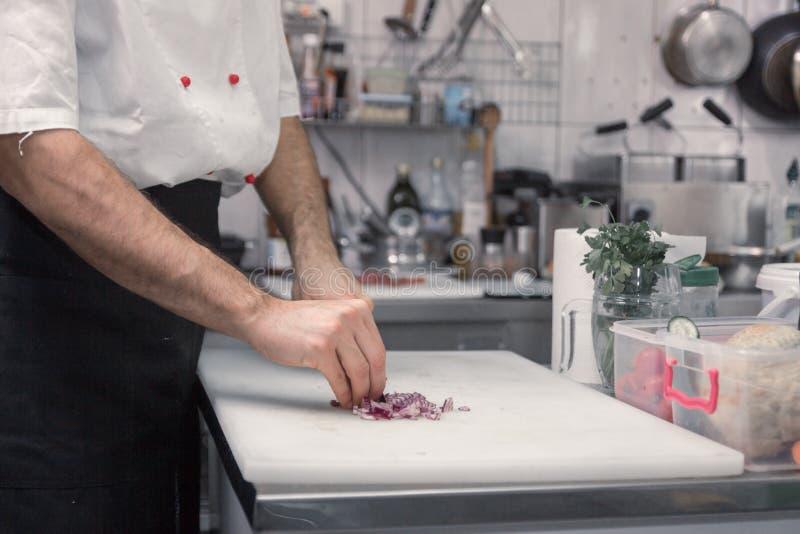 厨师切口葱,切板,特写镜头 免版税库存图片