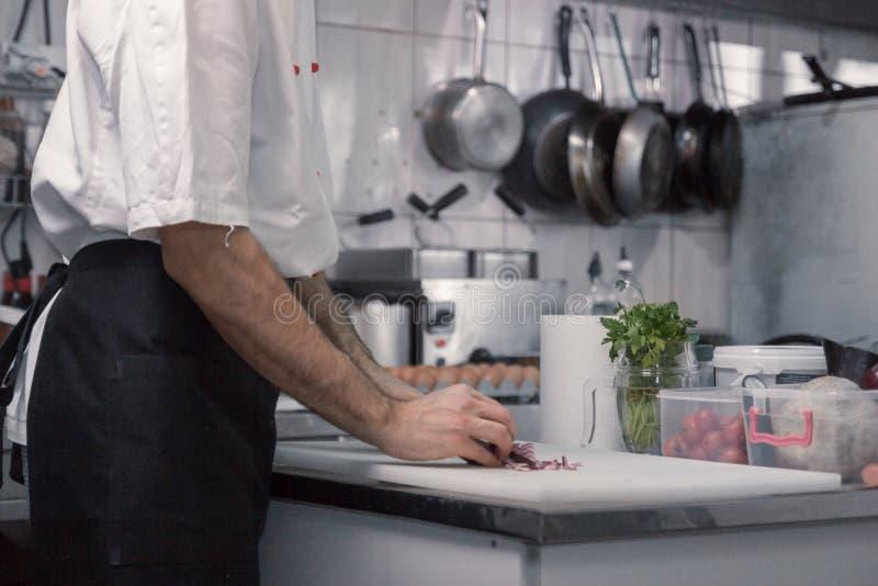 厨师切口葱,切板,特写镜头 库存照片