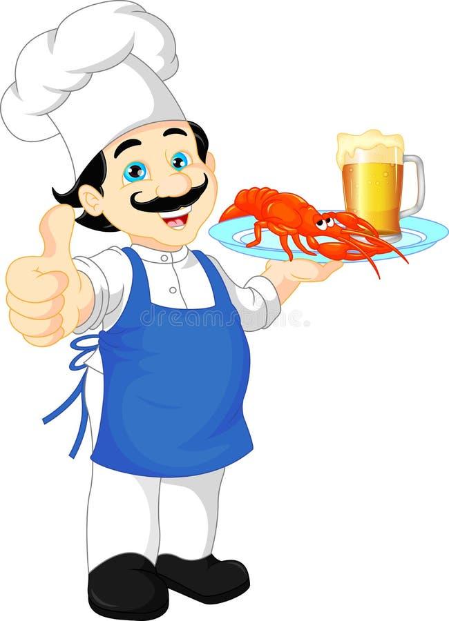 厨师动画片重击 向量例证