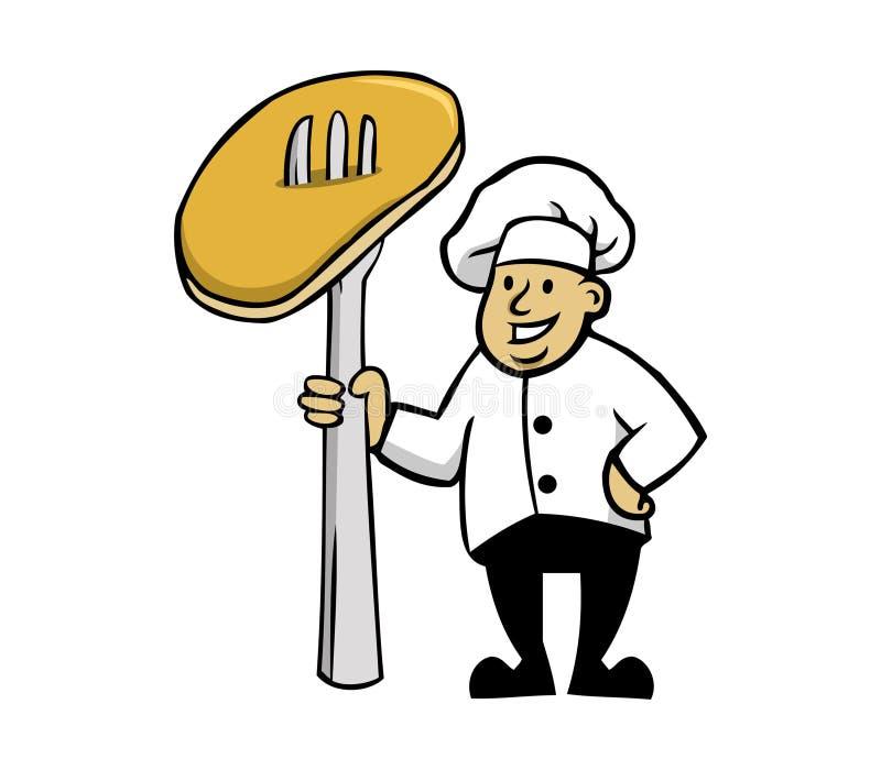 厨师和薄煎饼 皇族释放例证
