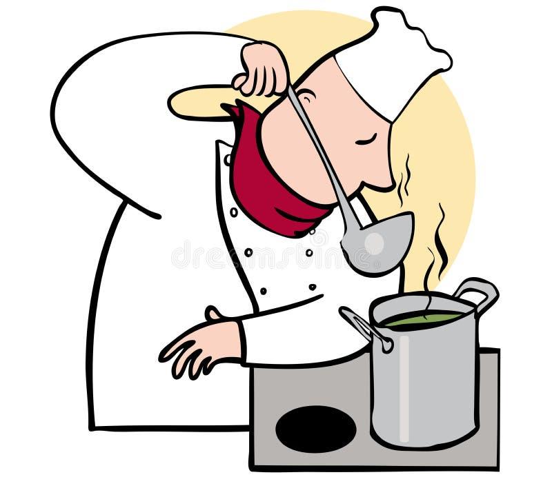 厨师嗅到 向量例证