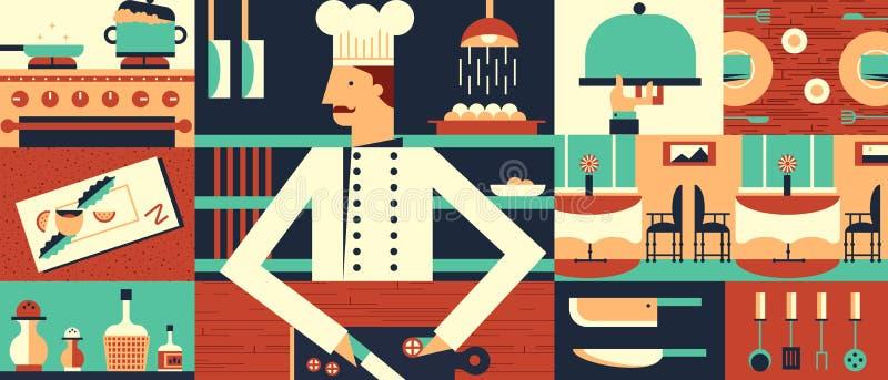 厨师在餐馆背景中 皇族释放例证