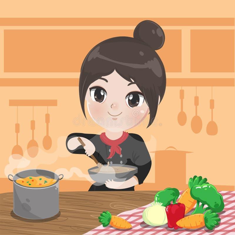 厨师女孩在她的厨房里烹调 库存例证