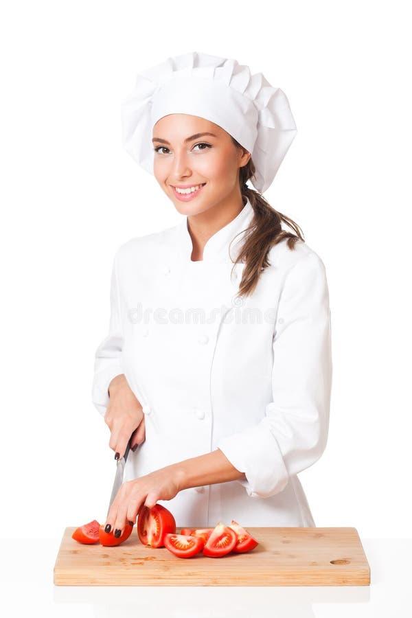 年轻厨师妇女 库存图片