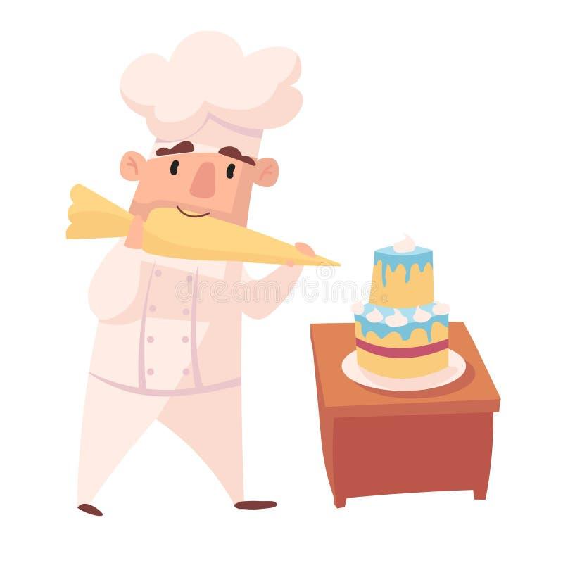 厨师字符  动画片吉祥人以各种各样的动态姿势 白色帽子的,传染媒介例证厨师 库存例证
