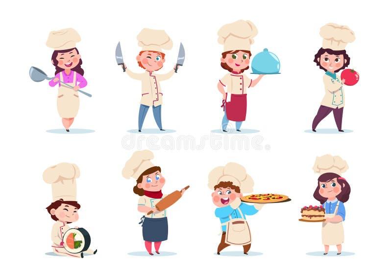 厨师孩子 一点有盘和烹调工具的微笑的男孩和女孩厨房工作者 动画片孩子烹调传染媒介集合 向量例证