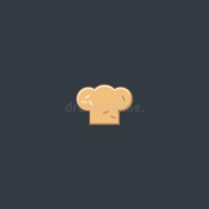 厨师帽子和面包商标设计 标志丹象传染媒介模板 库存例证