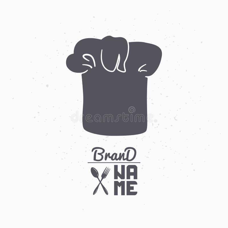 厨师帽子手拉的剪影  餐馆工艺食品包装,菜单或者品牌身份的商标模板 向量例证