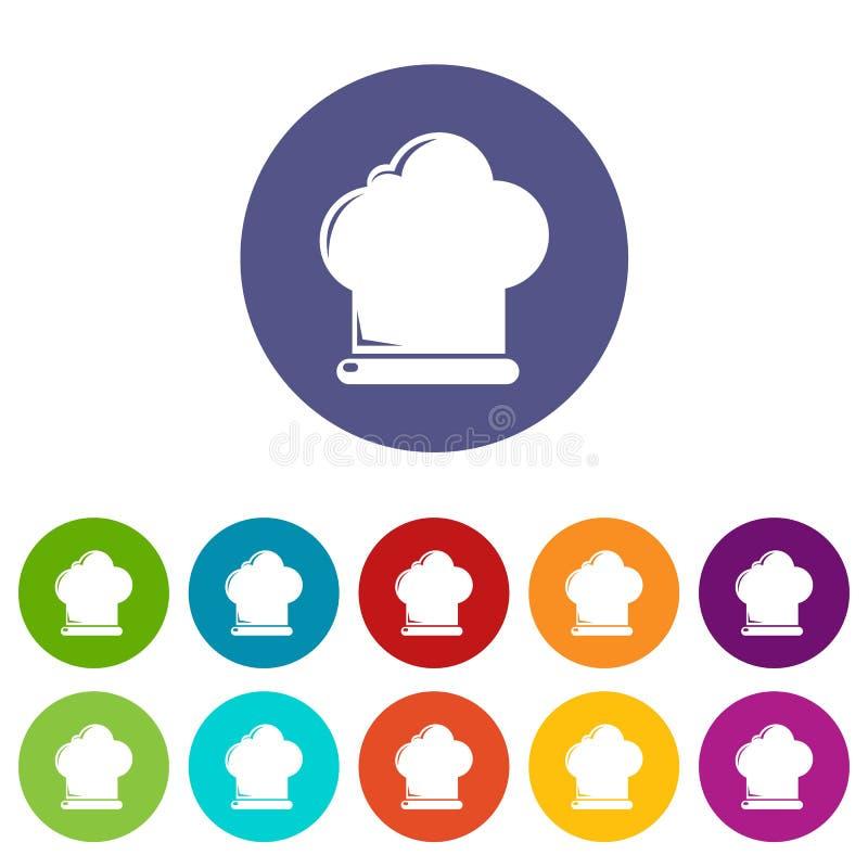 厨师帽子象被设置的传染媒介颜色 向量例证