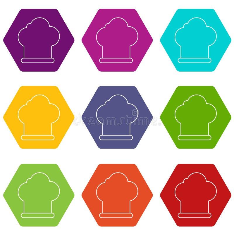 厨师帽子象设置了9传染媒介 向量例证