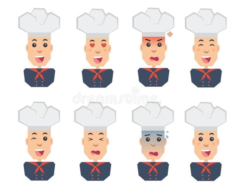 厨师情感被设置平的象 库存例证