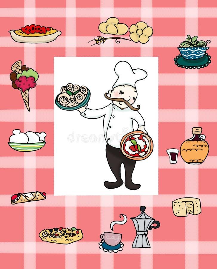 厨师意大利语 皇族释放例证