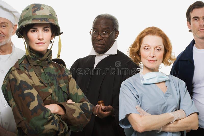 厨师战士法官外科医生和送货人 库存照片