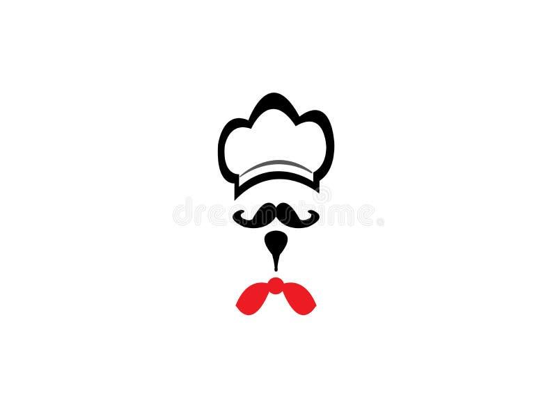 厨师有髭的烹饪器材帽子和商标设计的红色领带 向量例证