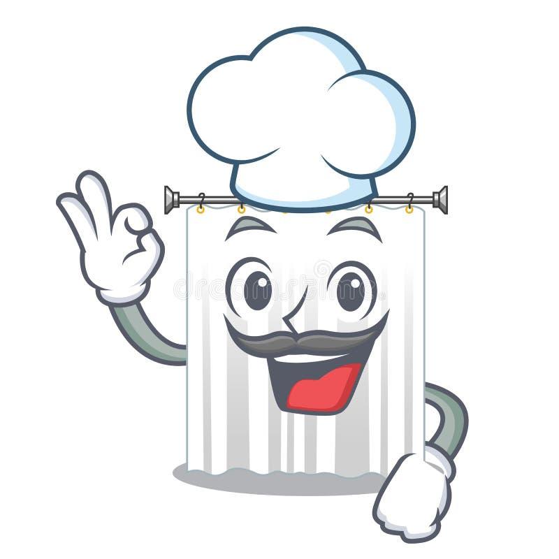 厨师淋浴帘在字符卫生间里 库存例证