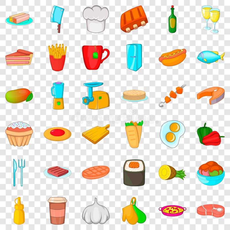 厨师烹饪器材象集合,动画片样式 向量例证