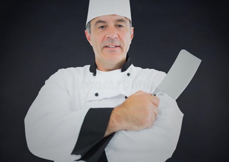 厨师的综合图象有刀子的反对海军背景 向量例证