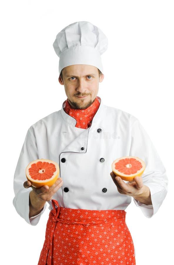 厨师英俊的年轻人 免版税库存图片