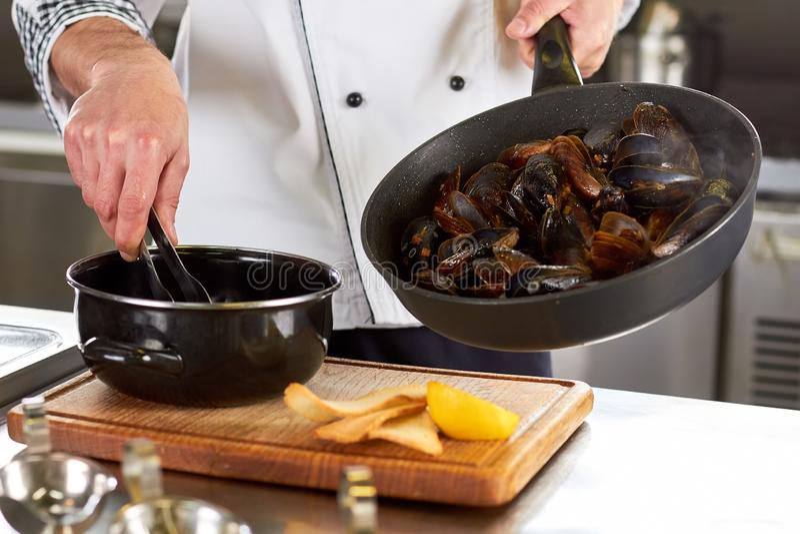 厨师转移的壳淡菜从平底锅到平底深锅 免版税库存图片