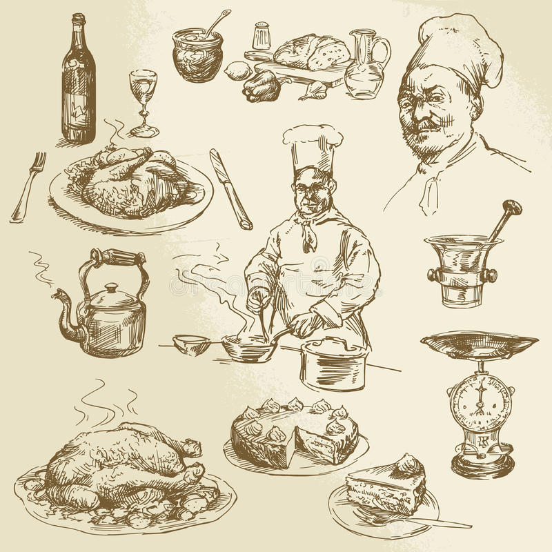 厨师,烹调 皇族释放例证