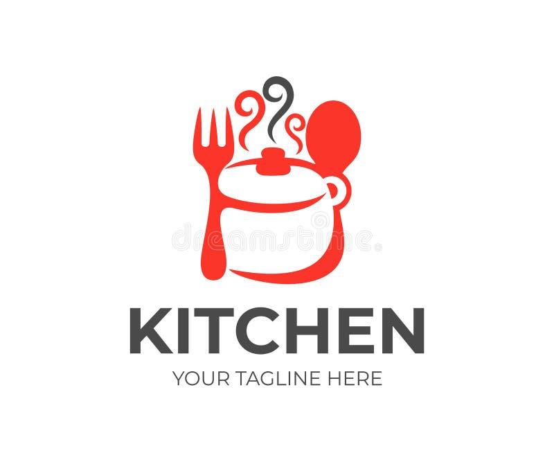 厨房、厨具、平底深锅、叉子和匙子商标设计 烹调吃,食物和餐馆,传染媒介设计 皇族释放例证