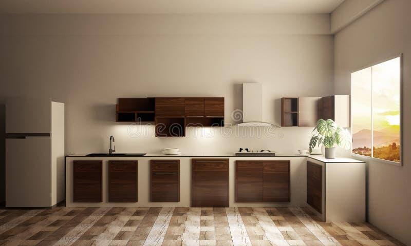 厨房与厨台的室内部在木瓦片 3d?? 向量例证