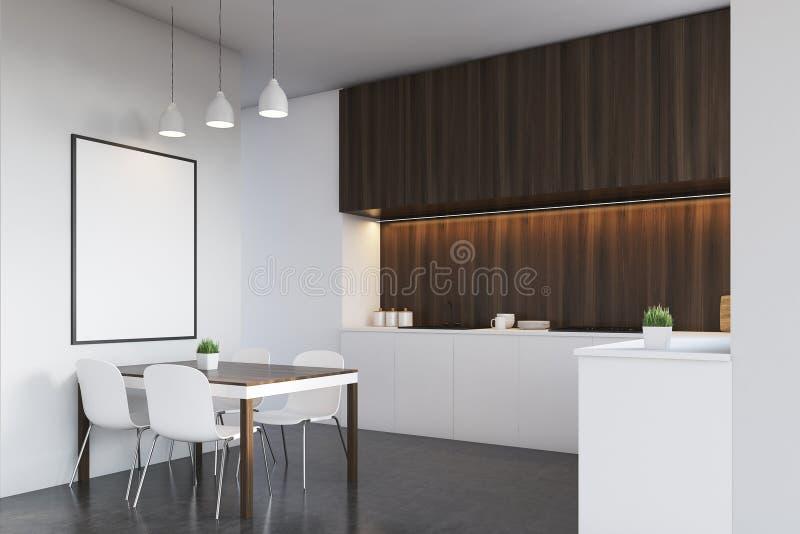 厨房侧视图有黑暗的木头的,海报 库存例证