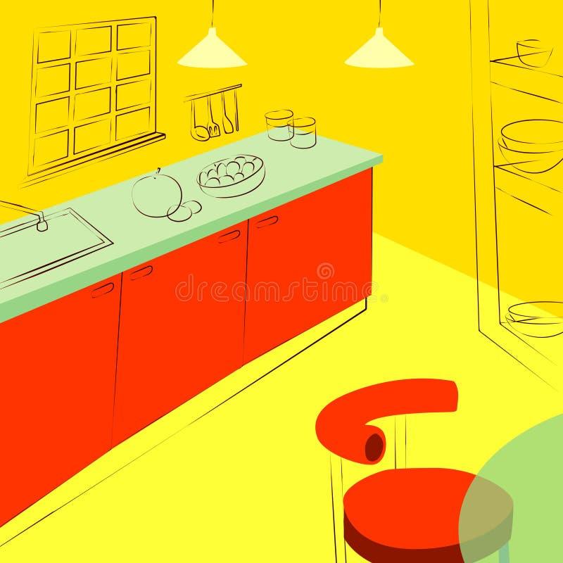 厨房内部、厨房设计和内阁 库存例证