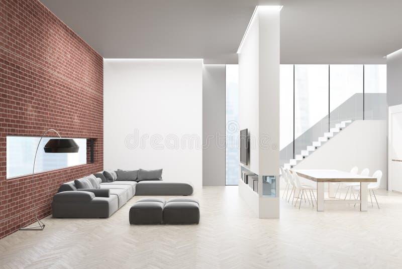 厨房内部和客厅,砖 向量例证