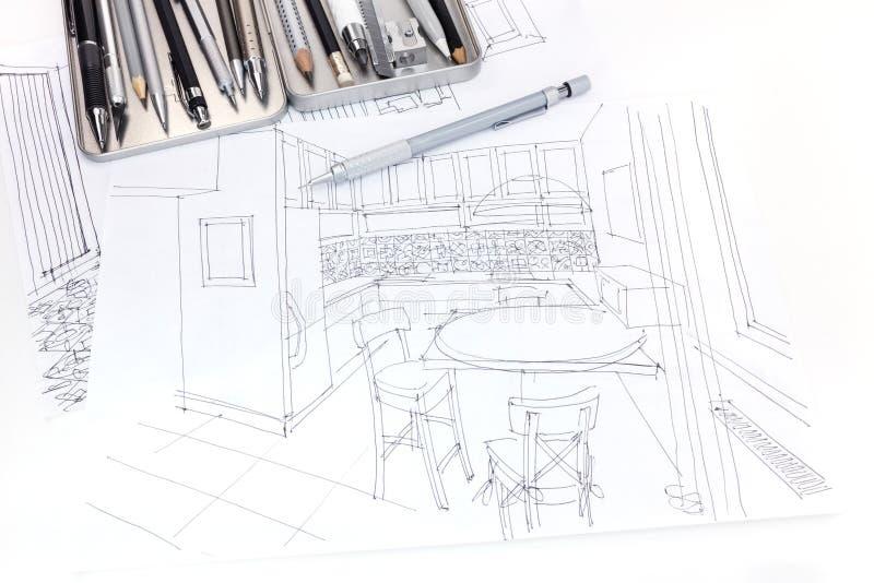厨房内部图解剪影和家具计划机智 库存照片
