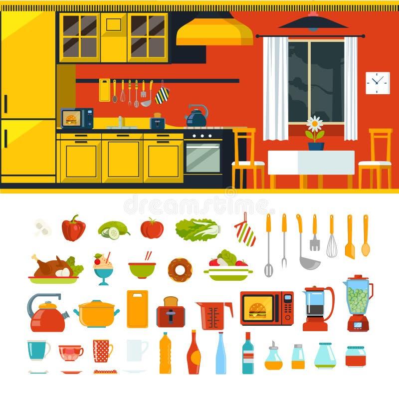 厨房内部对象建设者模板传染媒介象集合 皇族释放例证