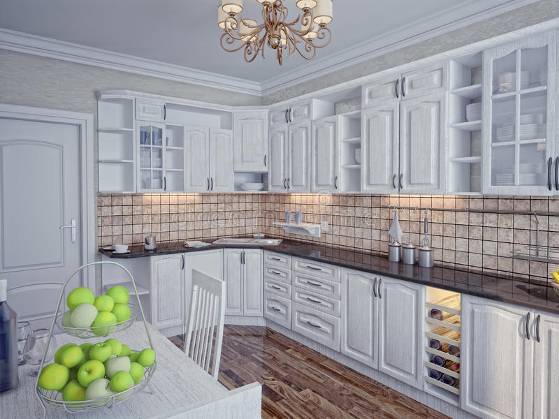 Download 厨房内部 库存例证. 插画 包括有 任何地方, 椅子, 设计, 实际, 灌肠器, 回报, 家具, 夹具, 豪华 - 22353260