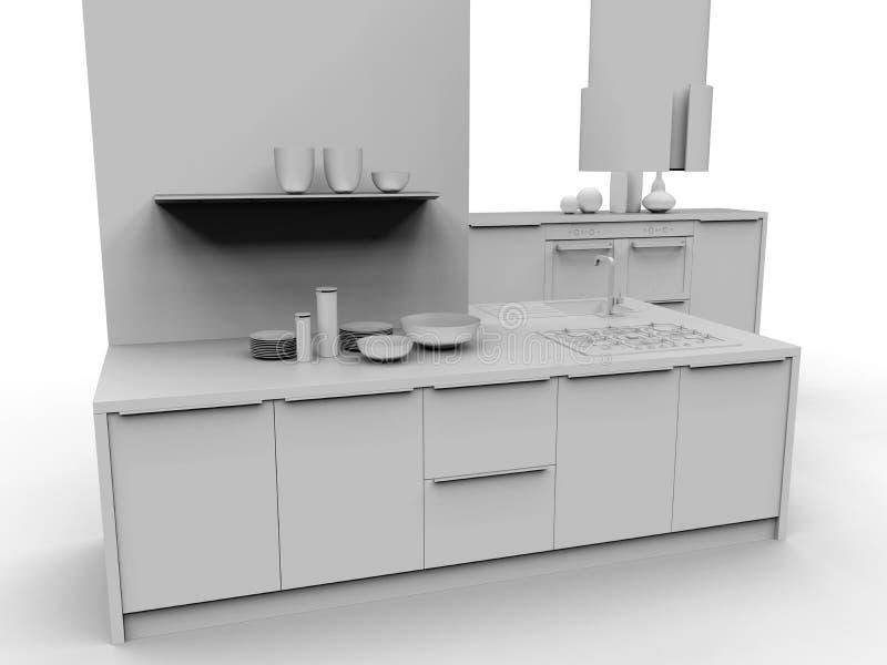 厨房内部3D灰色例证 库存例证