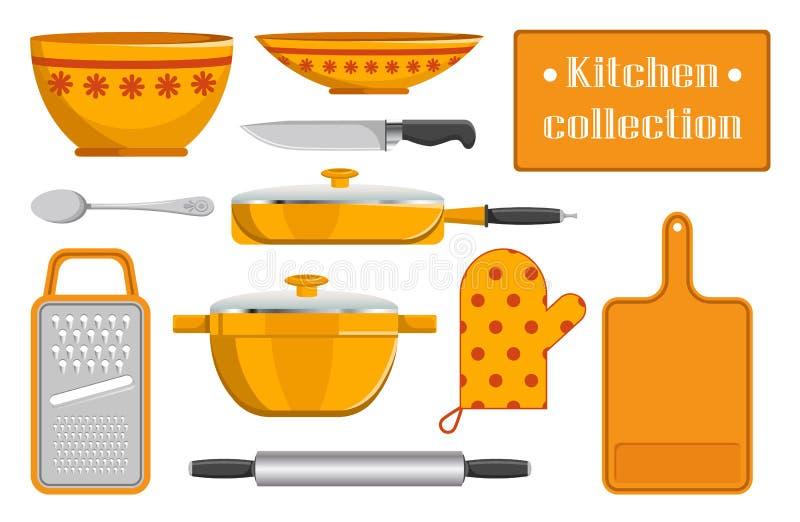 厨房厨房器具汇集剪影  皇族释放例证
