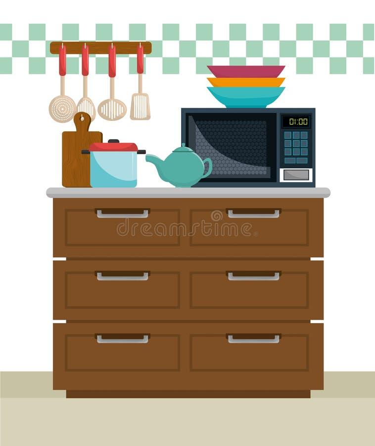 厨房和餐具 皇族释放例证