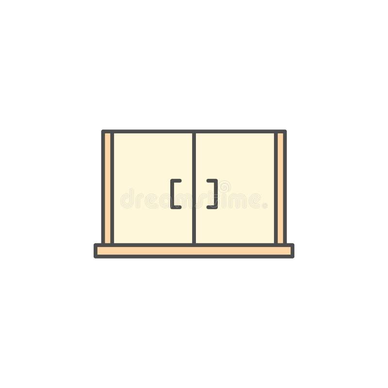 厨房器具碗柜烹调的例证存贮象 简单的稀薄的线型标志 库存例证