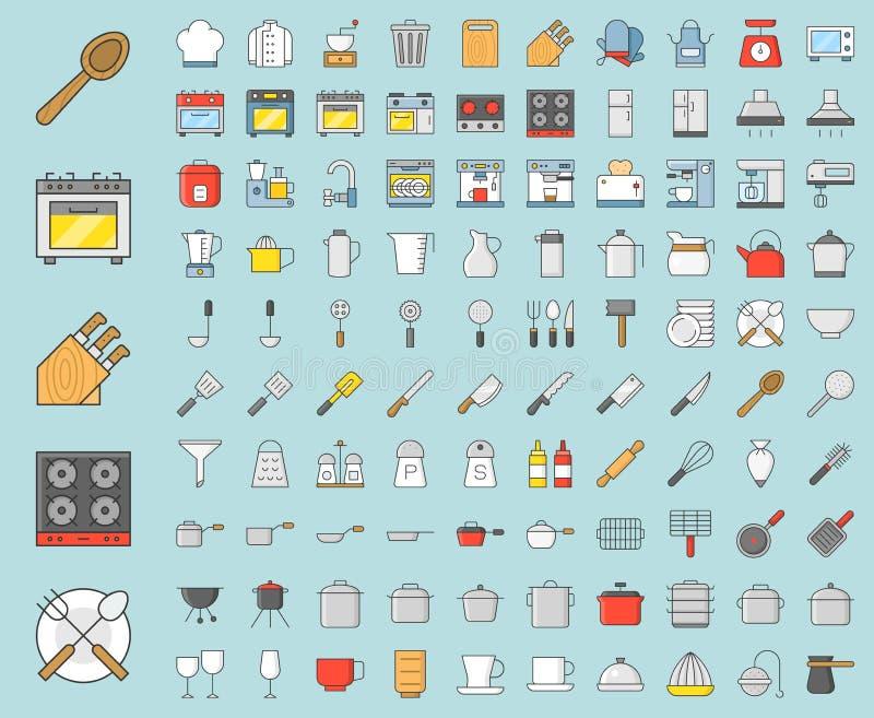 厨房器物和设备,面包店设备,厨师制服和 皇族释放例证