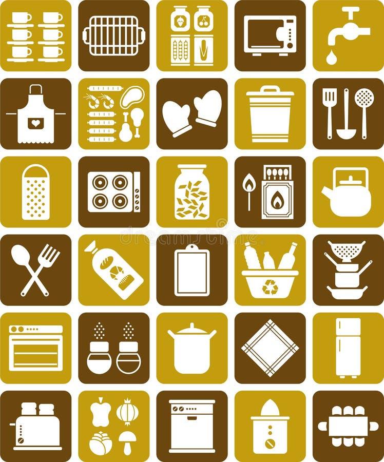 厨房图标 库存例证