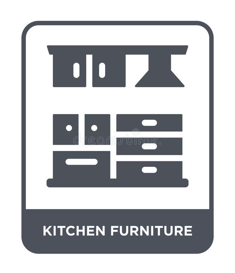 厨房在时髦设计样式的家具象 厨房在白色背景隔绝的家具象 厨房家具传染媒介象 向量例证