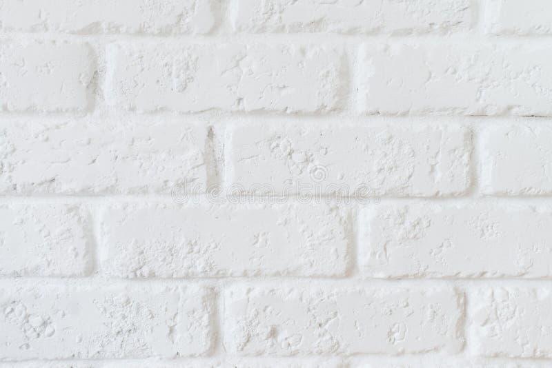 厨房墙纸概念:现代白色砖瓦片墙壁纹理背景的关闭 白色砖墙纹理 免版税图库摄影