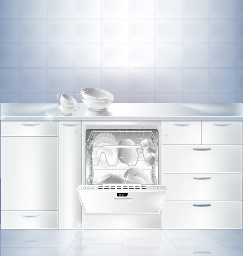厨房室传染媒介大模型有洗碗机的 皇族释放例证