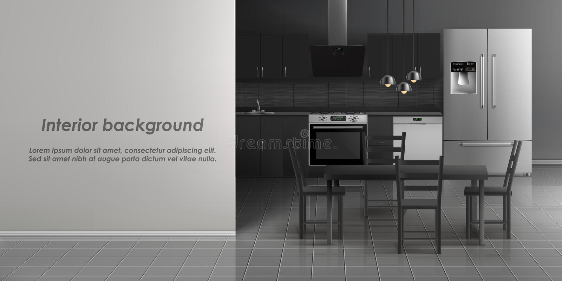 厨房室内部传染媒介大模型  皇族释放例证