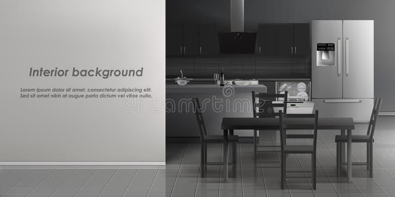 厨房室内部传染媒介大模型  向量例证