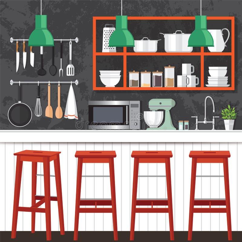 厨房室设计 皇族释放例证
